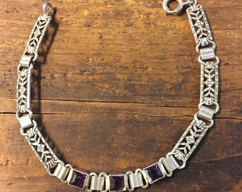 Antique Sterling Silver Amethyst Bracelet Flower Panel Signed 5.75 inch
