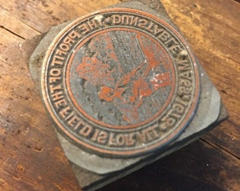 Vintage Letterpress Stamp Wood Metal Block Dunstable MA Seal