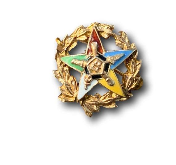 Eastern Star Masonic Pin Vintage Antique  10k Yell