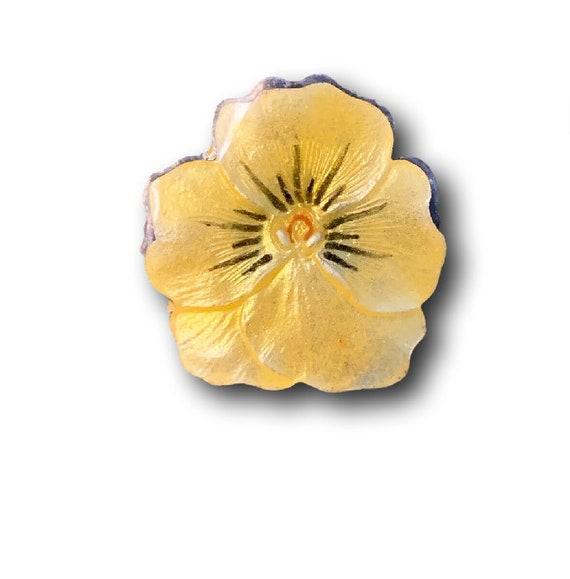 Yellow Pansy Pin Johhny Jump Up Sterling Silver P… - image 1