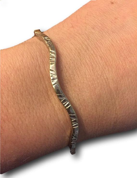 Sterling Silver RARE Etched Wave Bangle Bracelet.