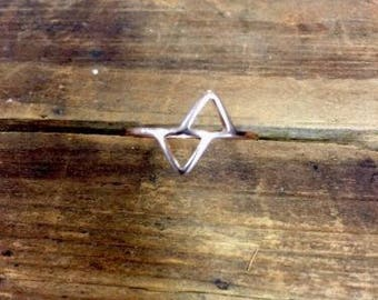 Sterling Silver Ring Rose Gold Double Triangle Size 6.5 Stackable