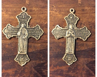 Vintage St. Francis St. Anthony Double Sided Cross with Prayer