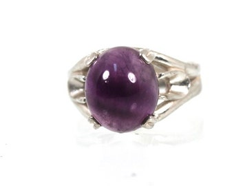 Ornate Round Purple Agate Ring Sterling Silver Size 8