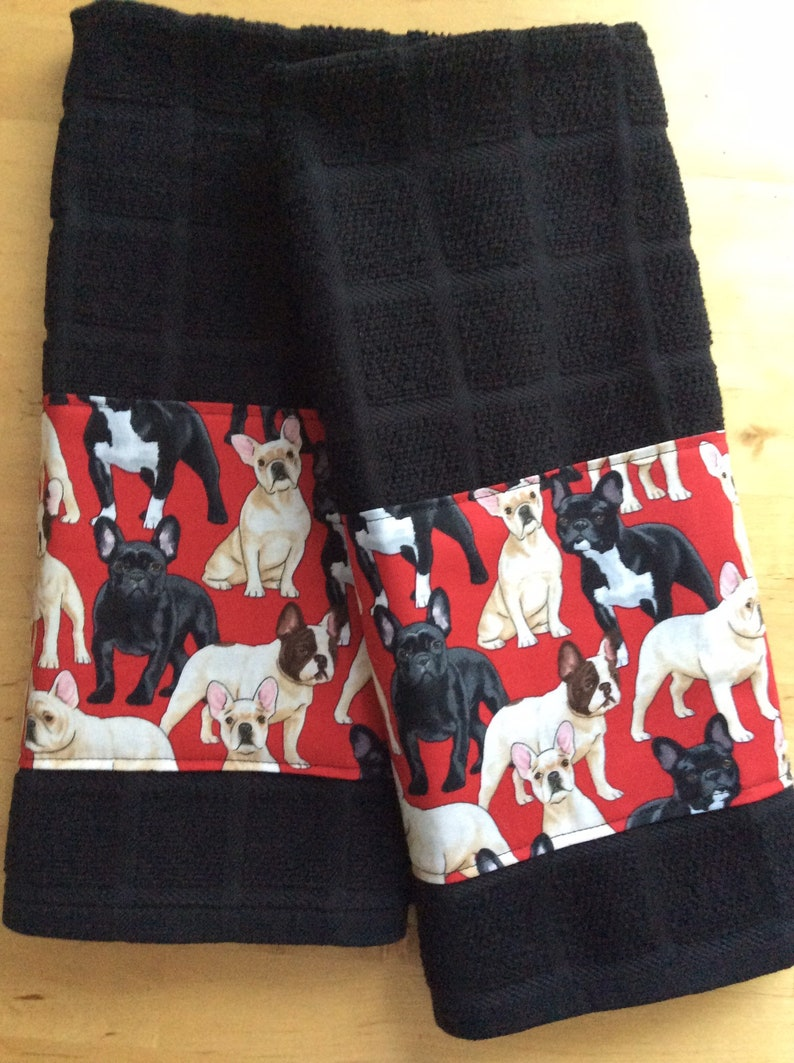 Merveilleux French Bull Dog Kitchen Towels, Dog Towels, Bar Towels, Frenchie Fabric
