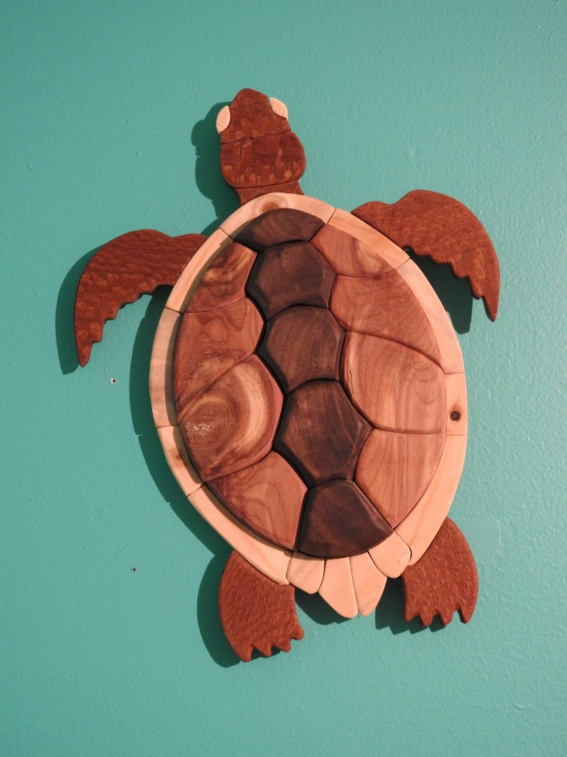 Mid Size Natural Wooden Seaturtle Sculpture Sea Turtle Wall Art Intarsia Wood Wall Hanging Marine Biology Recycled Wood Wall Art