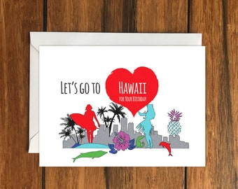 Hawaiian card etsy lets go to hawaii for your birthday blank greeting card a6 holiday gift idea m4hsunfo