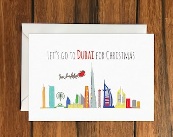 Let's Go to Dubai for Christmas Holiday Gift Idea greeting card A6