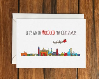 Let's Go to Morocco for Christmas Holiday Gift Idea greeting card A6