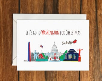 Let's Go to Washington for Christmas Holiday Gift Idea greeting card A6