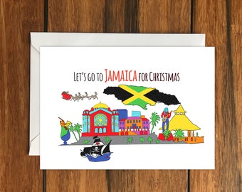 Let's go to Jamaica for Christmas One Original Blank Greeting Card A6 and Envelope
