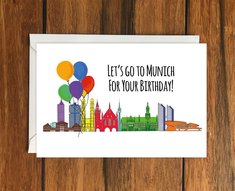 Let/'s Go to Munich Holiday Gift Idea greeting card A6