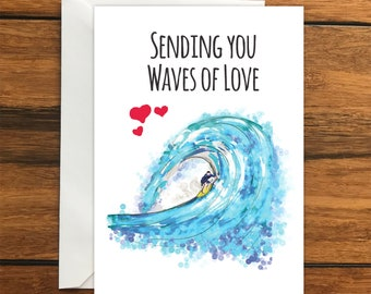 Sending You Waves of Love Surfing Blank greeting card, perfect surprise holiday gift card A6