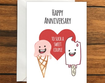 Happy Anniversary to such a sweet couple One Blank Greeting card and Envelope A6