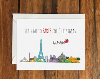 Let's Go to Paris for Christmas Holiday Gift Idea greeting card A6