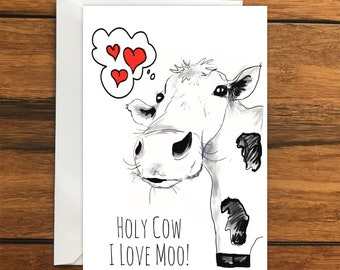Holy cow I love moo! One Blank Greeting card and Envelope A6