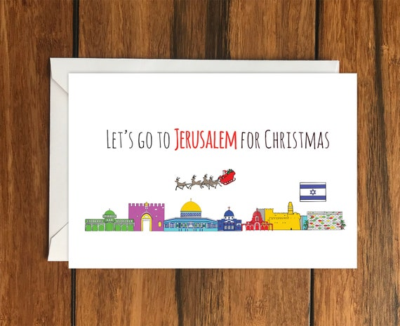 Let/'s Go to Jerusalem Holiday Gift Idea greeting card A6