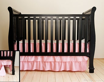 Unique Crib Skirting made with soft baby cordoroy. Easy assembly with 5 seperate pieces. Removable bottom ruffle increases longevity