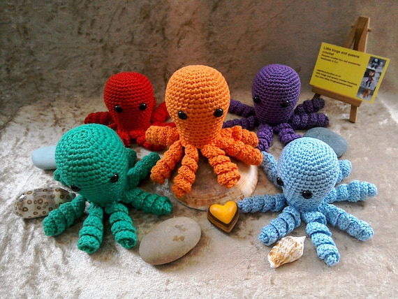 Biologisch Katoen Gehaakte Octopus Vroeggeboorte Speelgoed Etsy
