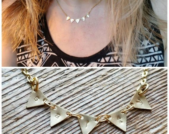 Custom stamped necklace in gold, matte gold or shiny silver