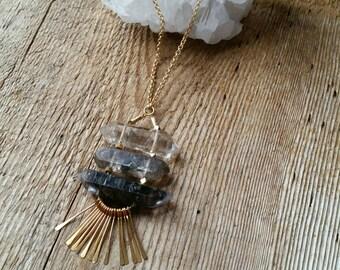 Large double terminated quartz crystal ladder necklace with gold fringe