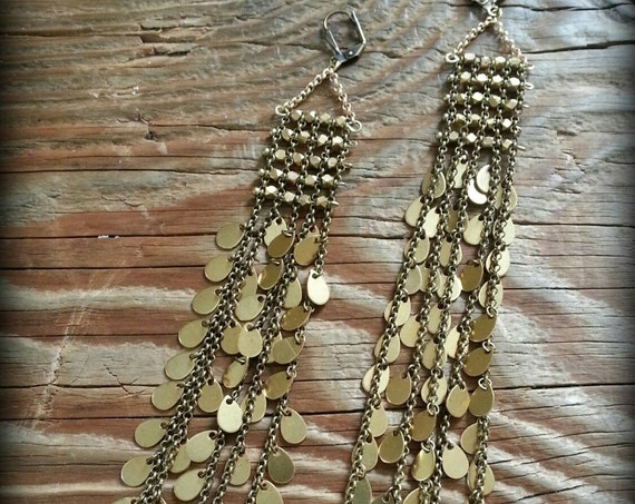 Long bright brass and antique brass shoulder dusters ancient goddess earrings teardrops
