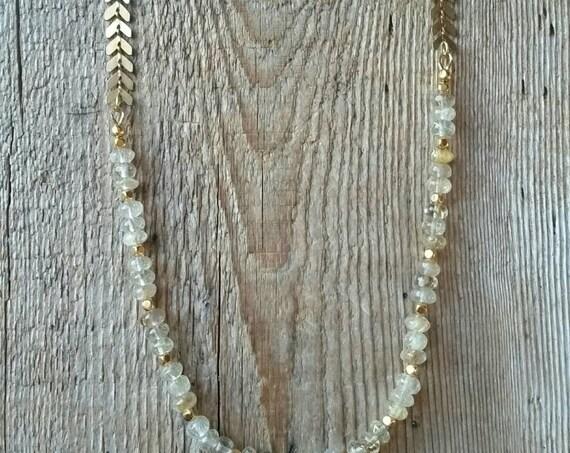 Golden rutilated quartz and raw brass chevron chain necklace