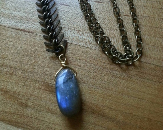 Labradorite and antique brass fishbone chain pendant style necklace