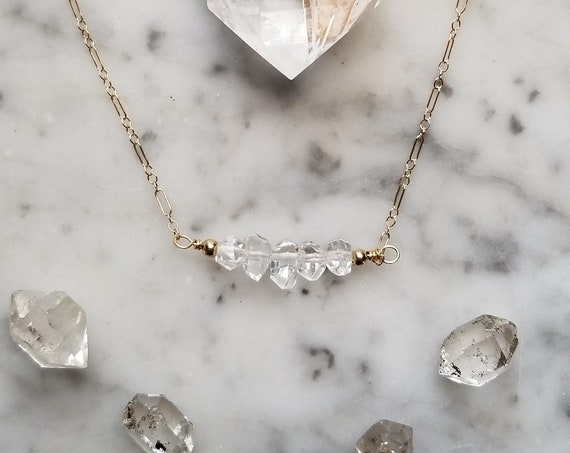 Delicate gold filled choker necklace with five Herkimer diamonds NGH007