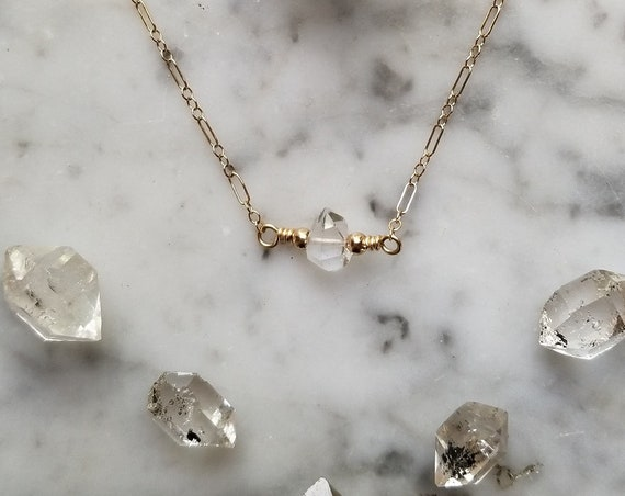Delicate gold filled choker necklace with single Herkimer diamond NGH008