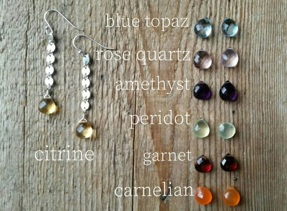 Sterling silver disc link earrings with citrine briolettes or blue topaz rose quartz peridot carnelian garnet amethyst