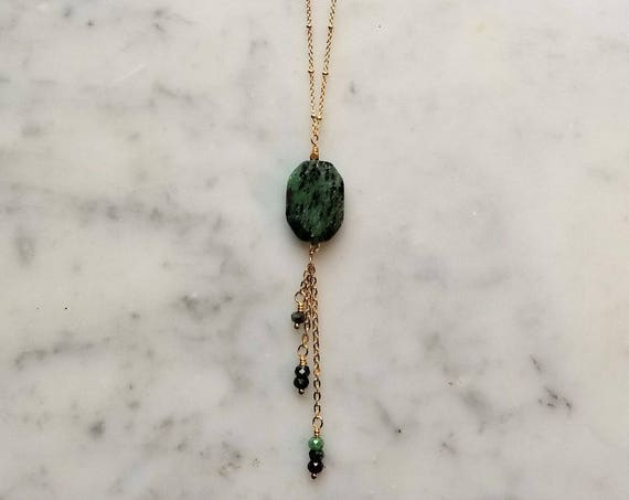 Ruby zoisite pendant with ruby zoisite dangles - long necklace on gold plated brass satellite chain - ruby fuchsite
