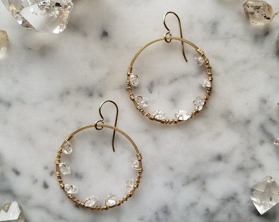 Herkimer diamond lined brass hoops Pleiades seven sisters half moon smaller size
