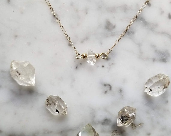 Delicate gold filled necklace with single Herkimer diamond NGH009