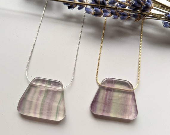 Fluorite slab on gold filled or sterling silver chain NGF001