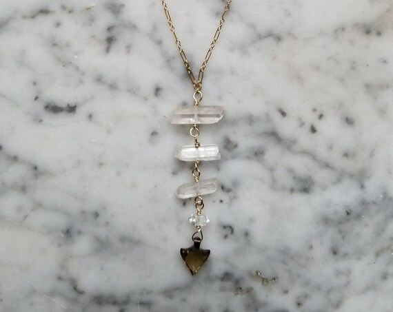Smoky quartz arrow with quartz crystal and herkimer diamond on gold filled chain