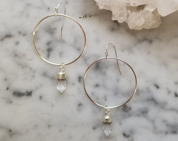 Silver topped quartz crystal on sterling silver circles