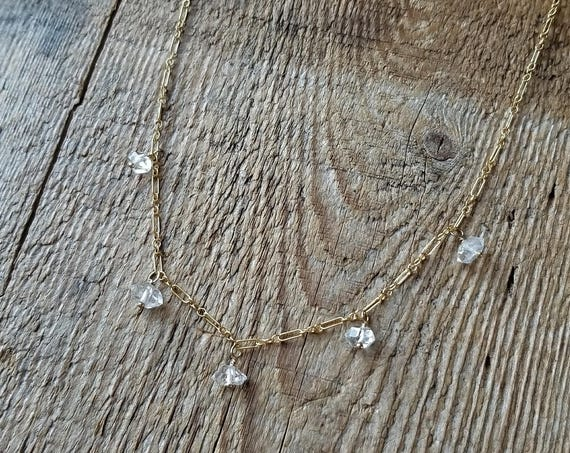 Delicate gold filled necklace with smaller Herkimer diamonds