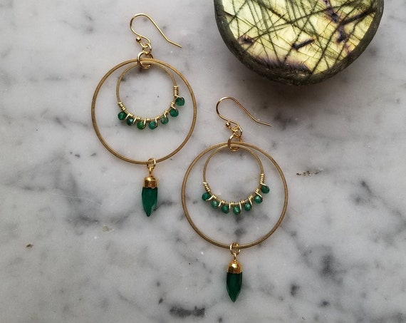 Green onyx wrapped brass circles with faceted green onyx points