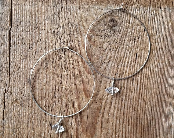 Sterling silver handmade hoops with herkimer diamonds