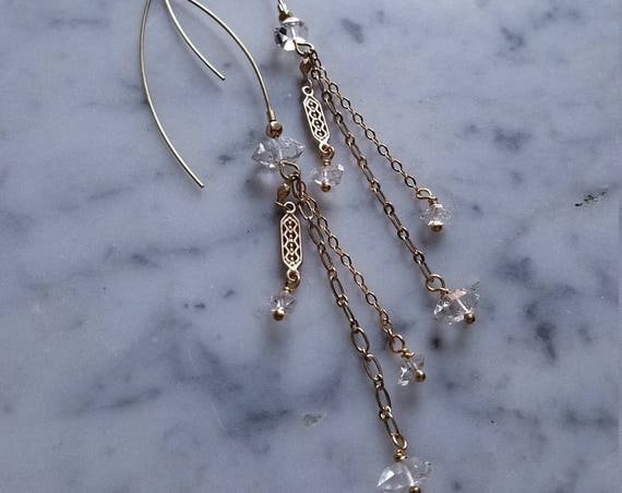 Herkimer diamond accented long ear wires with art deco brass and bronze chain fringe