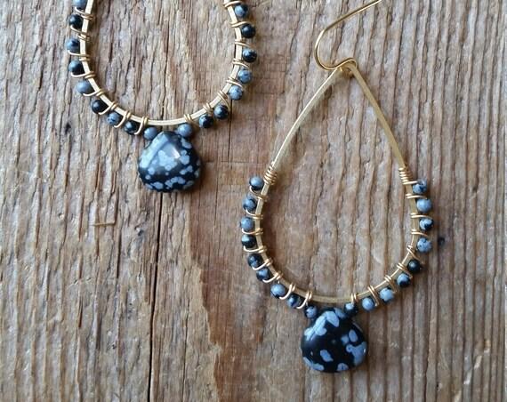 Snowflake obsidian wire wrapped brass teardrop earrings