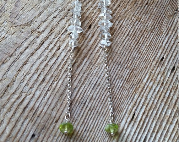 Herkimer diamond dangle earrings with peridot on sterling silver