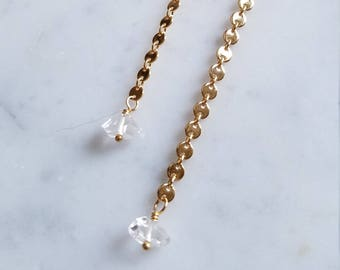 Long disc chain earrings with water clear herkimer diamonds
