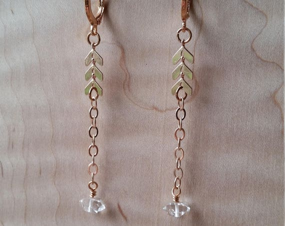 Rose gold chevron chain with herkimer diamonds