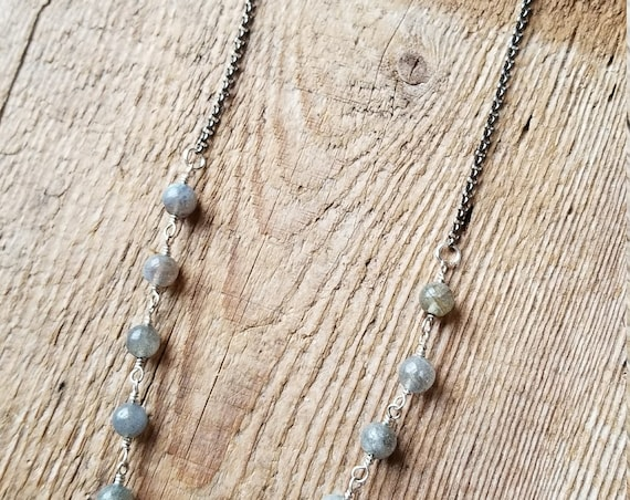 Beaded labradorite on gunmetal chain layered necklace