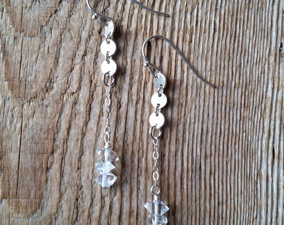 Sterling silver disc link earrings with herkimer diamonds
