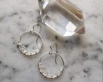 "1"" wide Herkimer diamond lined sterling silver hoops Pleiades seven sisters half moon small"