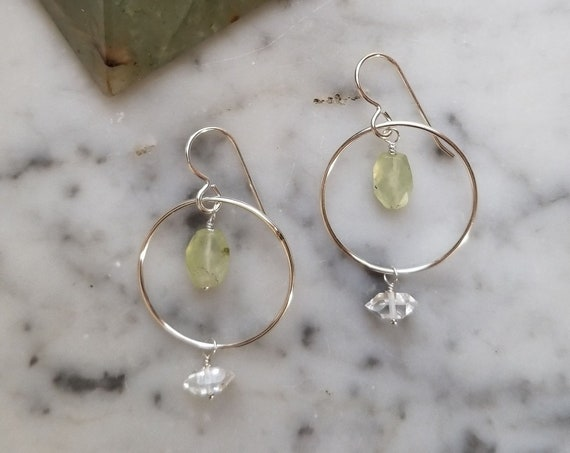 Prehnite and Herkimer diamond on sterling silver circles with sterling silver ear wires