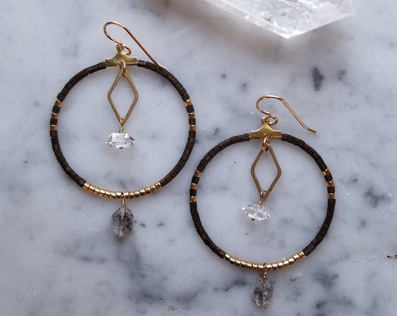 Brass hoops with broze and shiny gold seed beads and herkimer diamonds